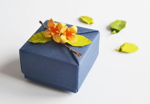 Navy Blue Origami Box with Origami Lily and Leaves by ReverseCascade