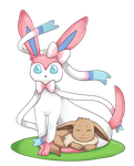 [Pokemon] Sylveon and Baby Eevee by Anni-the-cat