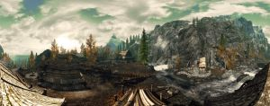 Skyrim village panorama by Mallony