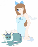 Vaporeon and Girl by Strawberry-of-Love