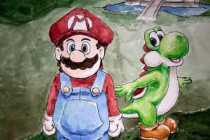 Closer Up On Mario And Yoshi by Feral-Maiden