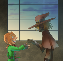 Scarecrow And Mad Hatter_First meeting by pink-ninja
