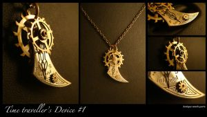 Steampunk Pendant: Timetraveller's Device 1 by azazel-is-burning