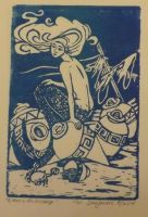 Living in the wreckage 4x6 inch block print by samjowers