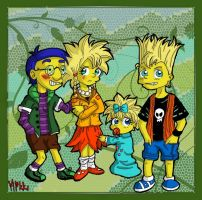 Simpsons: The kidz + Milhouse by MagicMikki