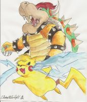 Bowser and Pikachu by SubwaymasterMegumi