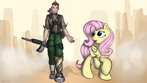 Fluttershy meets Axton by malamol
