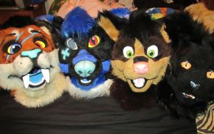 Fursuit heads! by The-Shy-Violinist