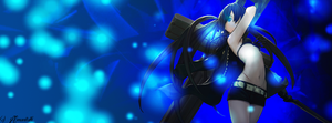 Black Rock Shooter Glowing Lights Timeline Cover by Amanveth