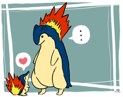 Typhlosion and Cyndaquil by ZombiePoetic