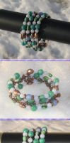Blue Green Copper Coil Bracelet by Windthin