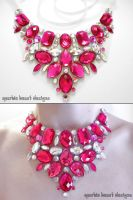 Bright Pink and Crystal AB Rhinestone Bib Necklace by Natalie526