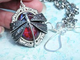 Dragonfly Wrapped Dragon's Breath Necklace SS by artistiquejewelry