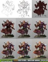 Tutorial Step by Step: Swine Ridin' Warrior by ConceptCookie