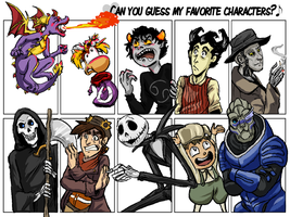 [MEME] Can you guess my fave characters? by Mirra-Mortas