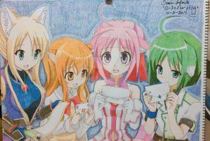 Dog Days group drawing (completed) by Di5a5terp13ce