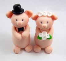 Pigs Wedding Cake Topper by HeartshapedCreations