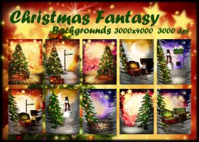 Christmas Fantasy backgrounds by KlaraKay
