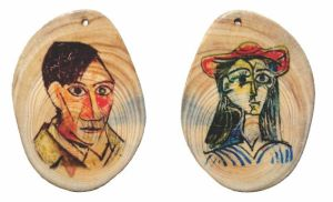 Pablo Picasso wooden slice pendant by naraosart