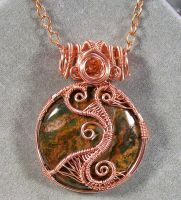 African Green Opal and Copper Woven Pendant by HeatherJordanJewelry
