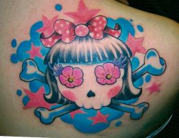 pink lady skull by mojoncio