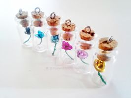 Custom Colors- Rose in a Bottle Necklace by kikums