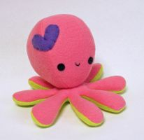 Pink octopus plush with purple heart by jaynedanger
