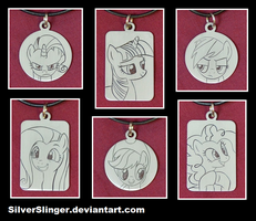 Mane 6 Engraved Pendants Version 2 by SilverSlinger