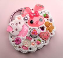 Compact Mirror Pink Bunny by Jin-ju