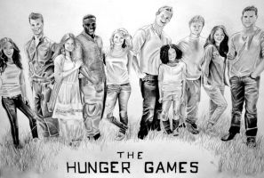 Hunger Games cast drawing by EQzazart
