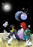 Sitting on the moon by Mobiusu
