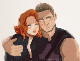 Natasha Romanov and Clint Barton by jaimito