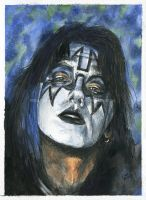 Ace Frehley / Kiss - Watercolor and ink - Portrait by NateMichaels