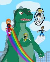 Power Pack and their new friend Godzilla by MCsaurus