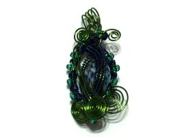Green and Blue Wire Wrapped Pendant by cakhost