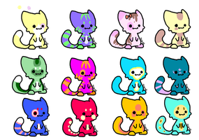 3 POINT CUTE CAT ADOPTABLES! ~*~OPEN~*~ by red-sunfox
