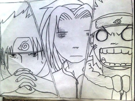Naruto, Sakura, and Sasuke by meowmeow52