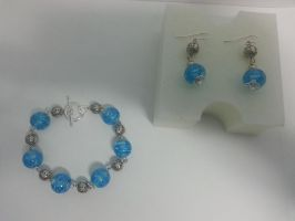 Lampwork Glass Handmade (Bracelet and Earrings) by glass-studio