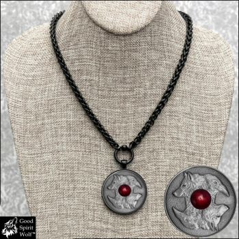 Wolf and Raven Coin on Black Wheat Chain Necklace by GoodSpiritWolf