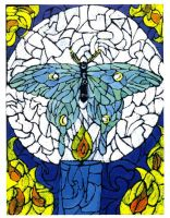 Luna Moth Stained Glass by hermitchild