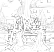 A Tale of Two Lopunnys - Sketch by Adriyel-chan