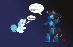 Sweetie Belle and Cyber Subzero by RB-Gameaddict