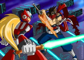 Strider Hiryu vs. Zero by punkbot08