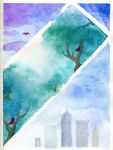 Sky is calling -- watercolor experiment by kaikaku