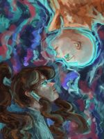 Korra and Aang by Jujulica