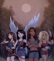 Commission: Amara, Kaori, Elara and Celeste (OC) by Do0dlebugdebz