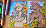 Marker Card Commission - Golem and SaffronSunset by reaperfox