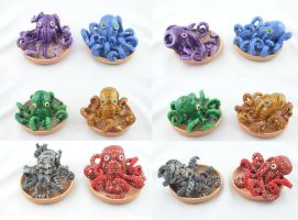 Small clay and resin octopuses by claymeeples