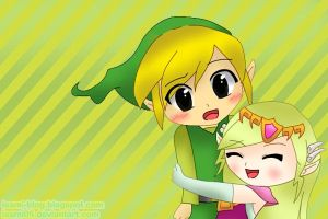 Toon Link and Toon Zelda by Isami05