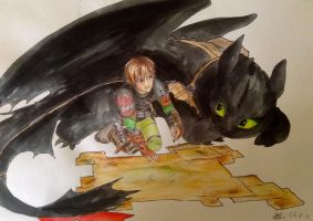 Hiccup + Toothless by amzzz123